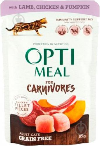 Optimeal Carnivores с ягненком и куриным филе в тыквенном желе