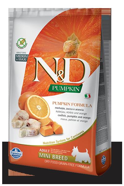 N&D Pumpkin Ocean Codfish&Orange Adult Mini Треска, тыква, апельсин 2,5кг