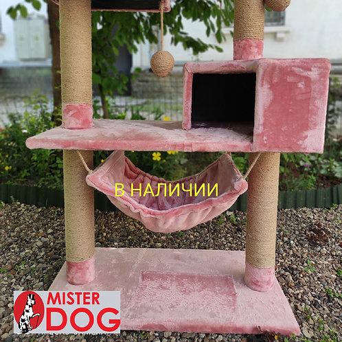 Игровой комплекс для кошек с площадками, домиком и гамаком, 110см