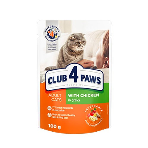 CLUB 4 PAWS Premium для взрослых кошек С курицей в соусе