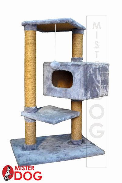 Игровой комплекс для кошек с тремя площадками и вращающимся домиком, 105 см
