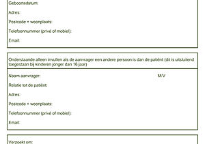 Aanvraagformulier medische gegevens
