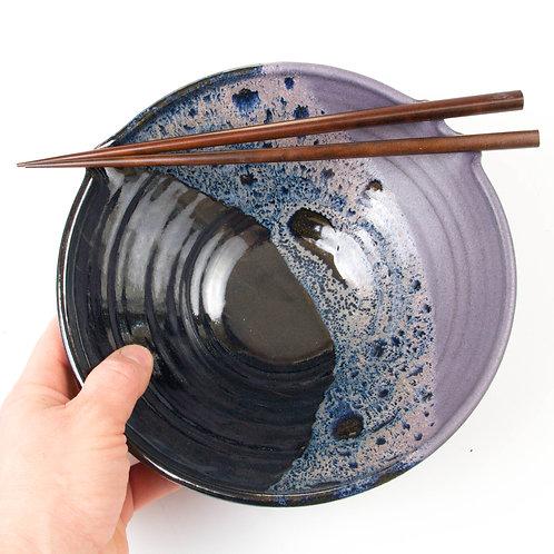 Rice or Noodle bowl with built in chopstick rest & wooden chopsticks