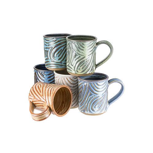 Fingerprint Series hand carved mugs
