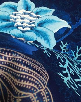 Indi-Textile-Velours-Bleu-Profond-Motif Floral-Indiennes-Calme-Harmonie