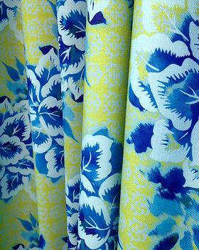 Persane Textile Ameublement-Haut de gamme-Jardin-Fleuri-Vert-Bleu-Coton-Lin-Sur Mesure-France