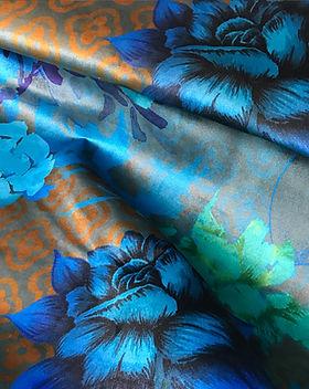 Shamballa-Velours-Brillant-Chic-Intemporel-Fleur-Graphique-Tons-Bronze-Turquoise-Pétrole