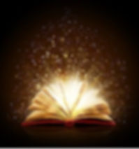 A picture of an open book with sparkles coming out of it.