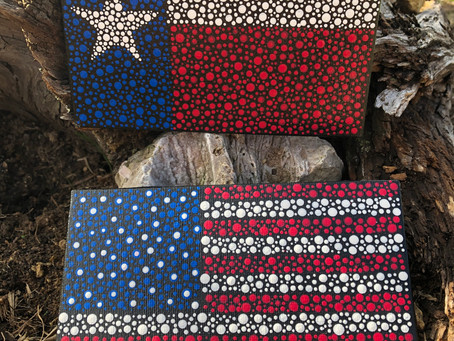 American and Texas Dot Art Flags