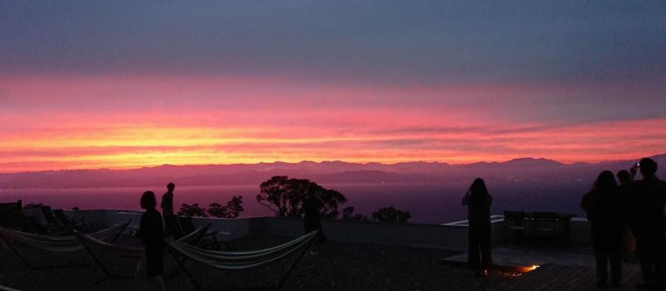 展望デッキよりの夕陽