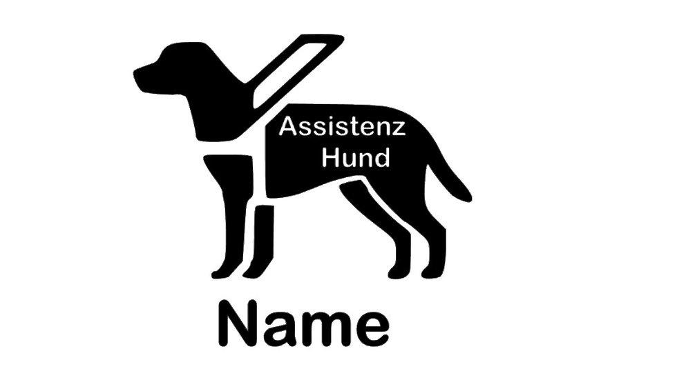 """Sticker """"Assistenzhund"""" mit Wunschtext"""