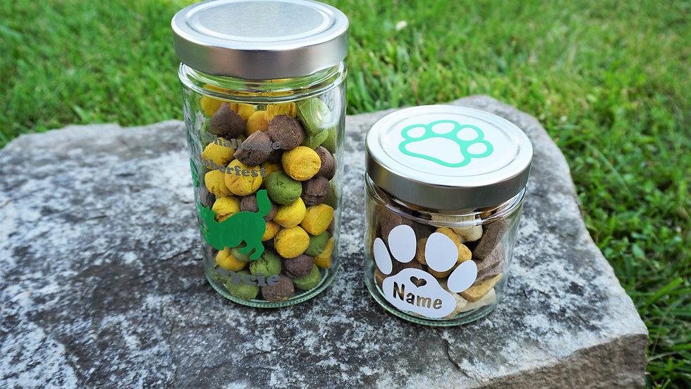 Leckerlieglas für Hunde mit Personalisierung Wunschtext