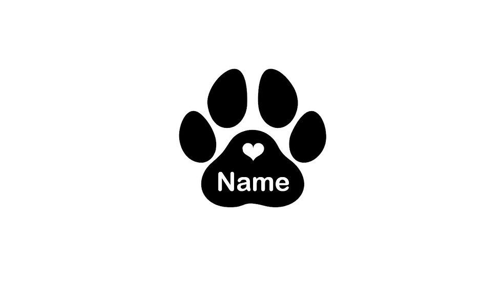 Sticker Aufkleber Hundepfote mit Name
