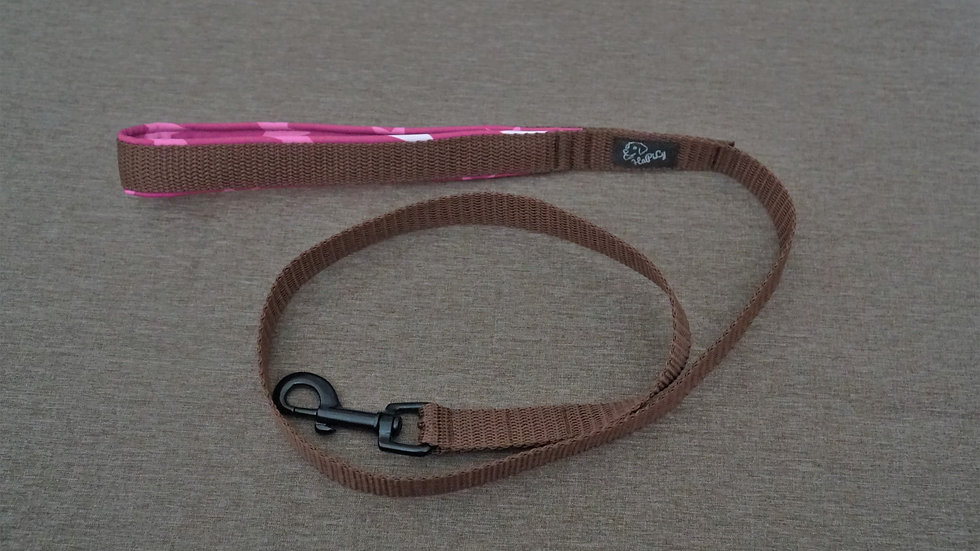 Leine (braun/Sterne rosa) 1m