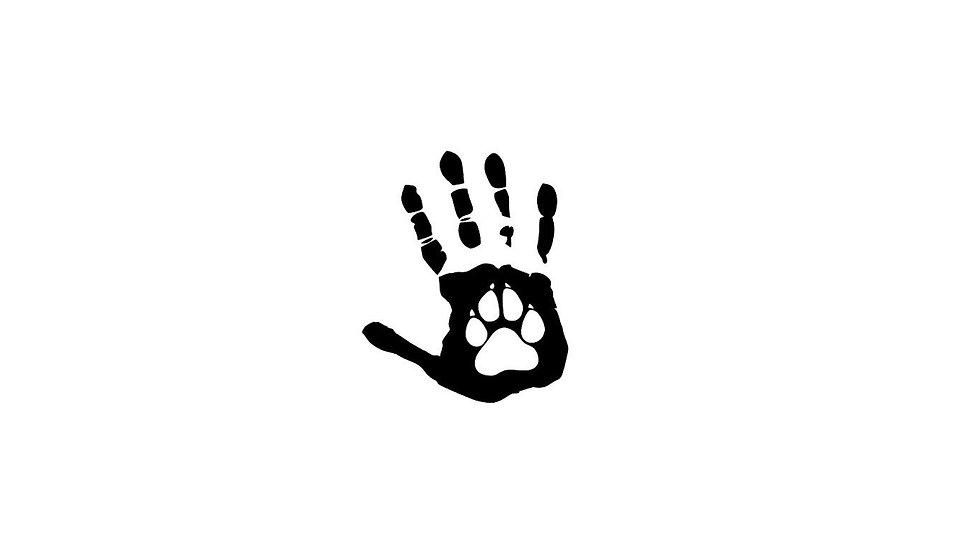 Sticker Hand mit Hundepfote Aufkleber