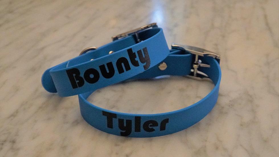 verstellbar Halsband Hund Wunschtext Personalisierung PVC Coated Webbing Biothane