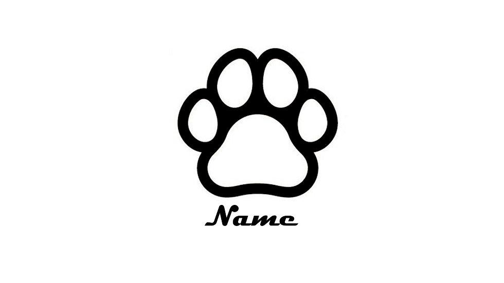 Sticker Aufkleber Hundepfote mit Wunschtext