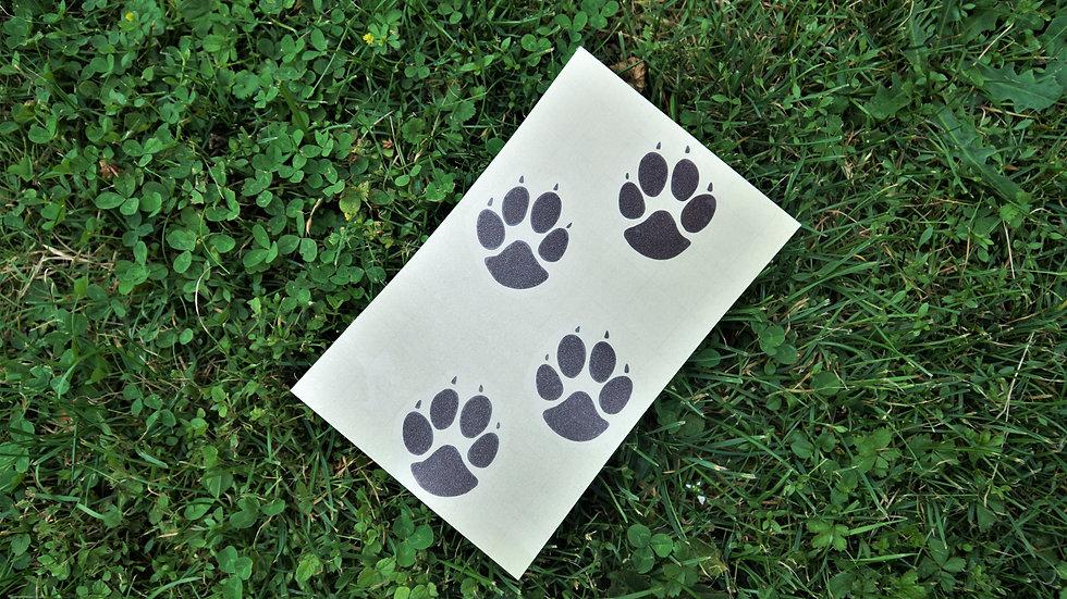 Autoaufkleber Sticker Hund Pfotenspur Wunschtext Name