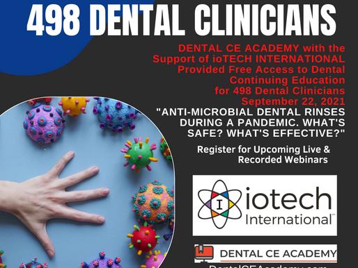 ioTech International Supports Free Dental Continuing Education: 498 Dental Clinicians September 22