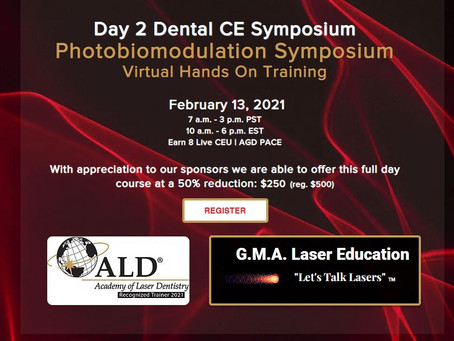 GMA Laser Education Joins Dental CE Academy for its Upcoming Virtual Symposium on February 13, 2021