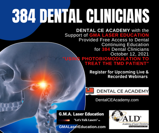 384 Dental Clinicians Received Free Access to Photobiomodulation Training October 12, 2021