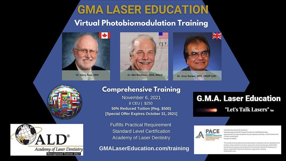GMA Laser Education continuing education management by Dental CE Academy and Virtual Dontics Education LLC