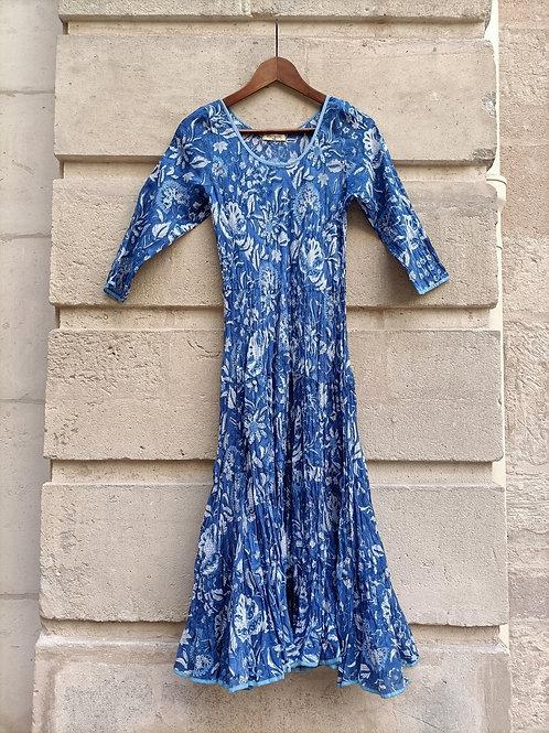 Robe Mary en coton imprimé à la main Floral Bleu