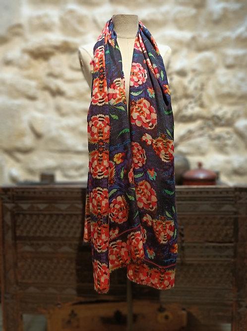 """Châle en laine cachemire motif """"Ottoman"""". Grand Format"""
