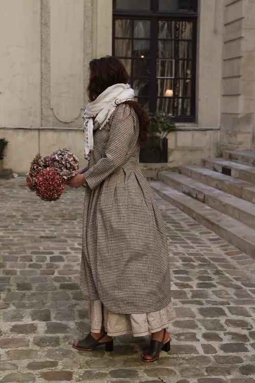 Manteau Isa petits carreaux 100% coton tissé main