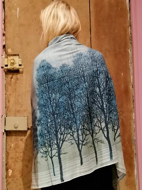 """Châle en laine cachemire """"Winter Forest"""" grand format"""