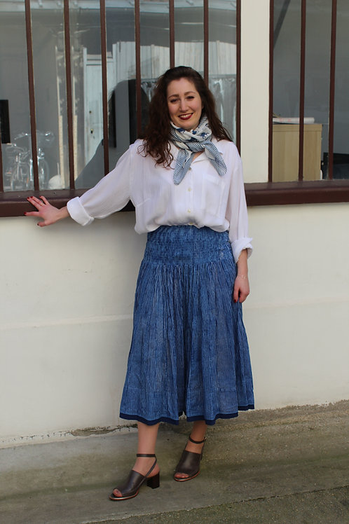 Jupe en coton imprimé à la main à rayures bleu indigo