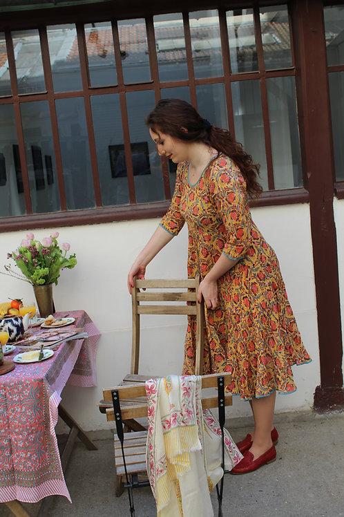 Robe Mary en coton imprimé à la main, motifs floraux