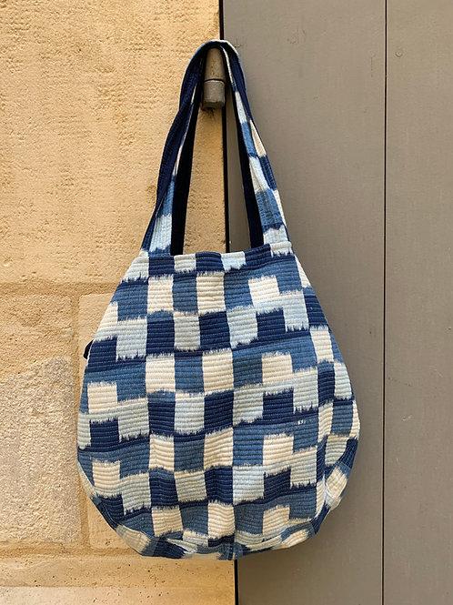 Sac en coton piqué et imprimé motif Ikat bleu