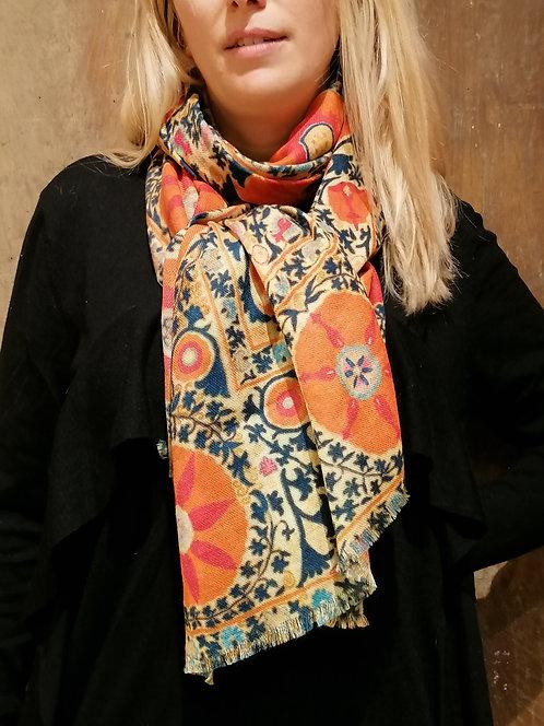 """Châle en laine cachemire motif """"Boukhara"""". Petit Format"""