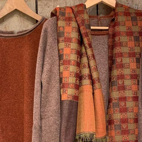 Châle en laine carreaux écossais réversible ocre grand format