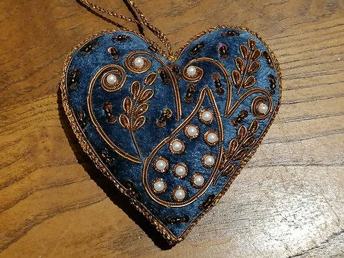 """Passementerie """"Coeur"""" couleur bleu 3"""