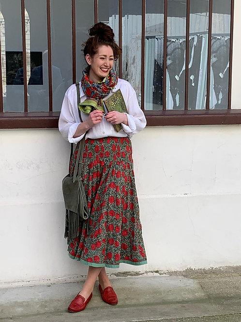 Jupe en coton imprimé à la main motifs coquelicot