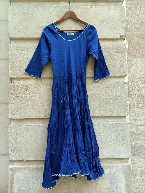 Robe Mary en coton imprimé à la main Blue royal uni