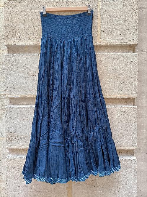 Jupe supergaghra en coton bleu indigo