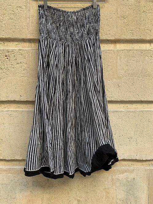 Jupe en coton imprimé à la main, rayures blanches et noires