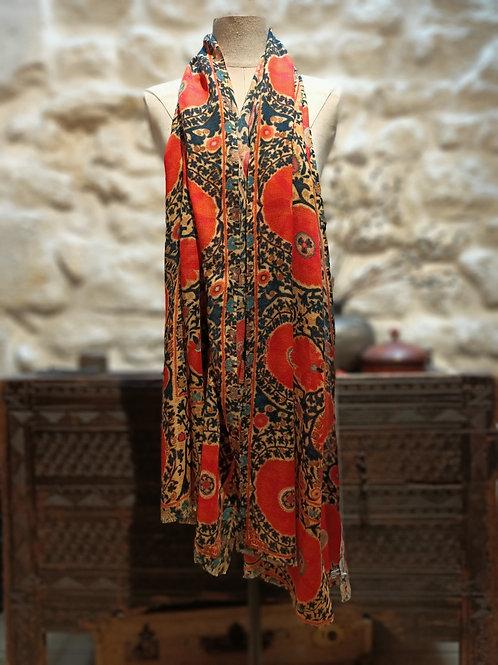 """Châle en laine cachemire motif """"Boukhara"""". Grand Format"""