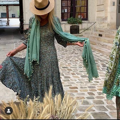 """Robe Mary en coton imprimé à la main, motif """"Prairie"""""""