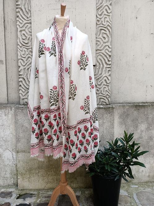 Étole en étamine de laine imprimée à la main, motif moghol rose 8
