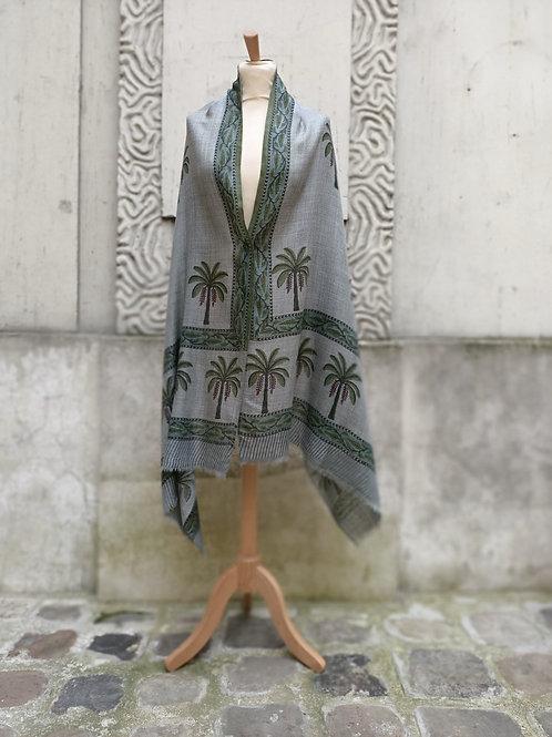 Etole en étamine de laine imprimée à la main motif palmier 5