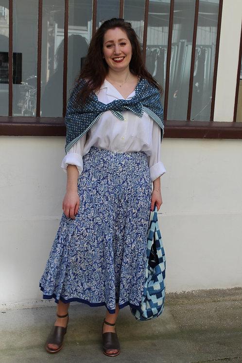 """Jupe en coton imprimé à la main motifs """"Blue Gardenia"""""""