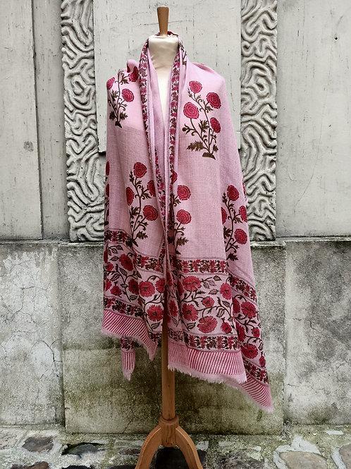Étole en étamine de laine imprimée à la main, motif floral moghol 2