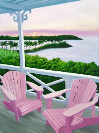 """Pink Porch, Abaco, 40x30"""""""