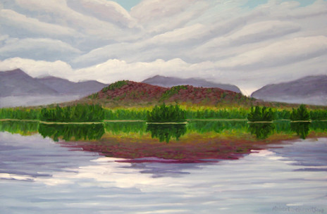 "Red Mountain Reflections, Elk Lake, 20x30"""