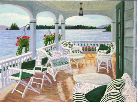 "Boathouse Porch, Lake George, 30x40"""