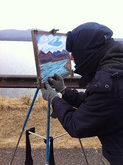 Plein air pastel at Ashokan Reservoir